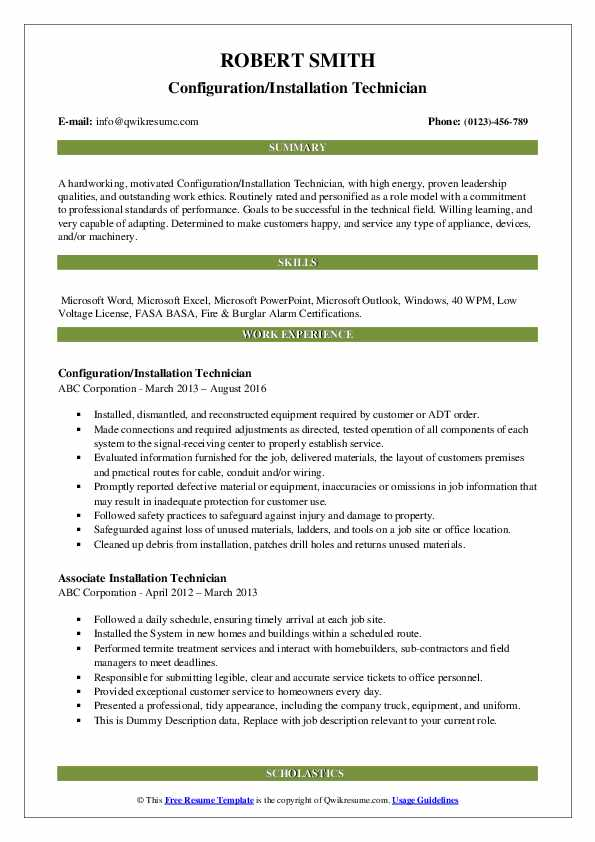 Configuration/Installation Technician Resume Example
