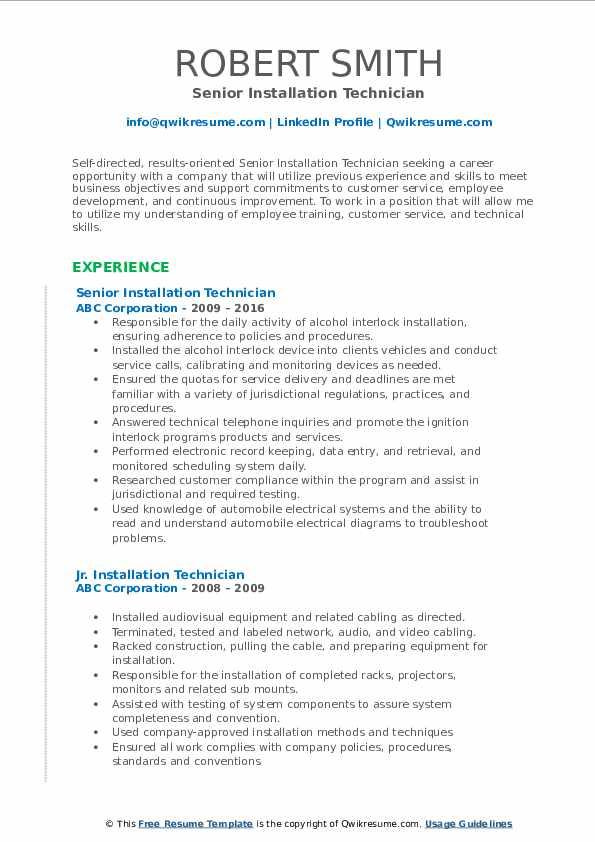 Senior Installation Technician Resume Format