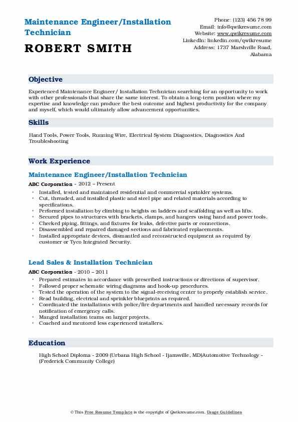 Maintenance Engineer/Installation Technician Resume Format