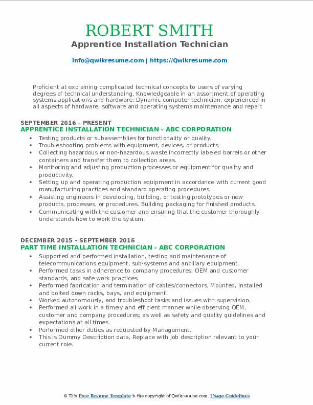 Apprentice Installation Technician Resume Model