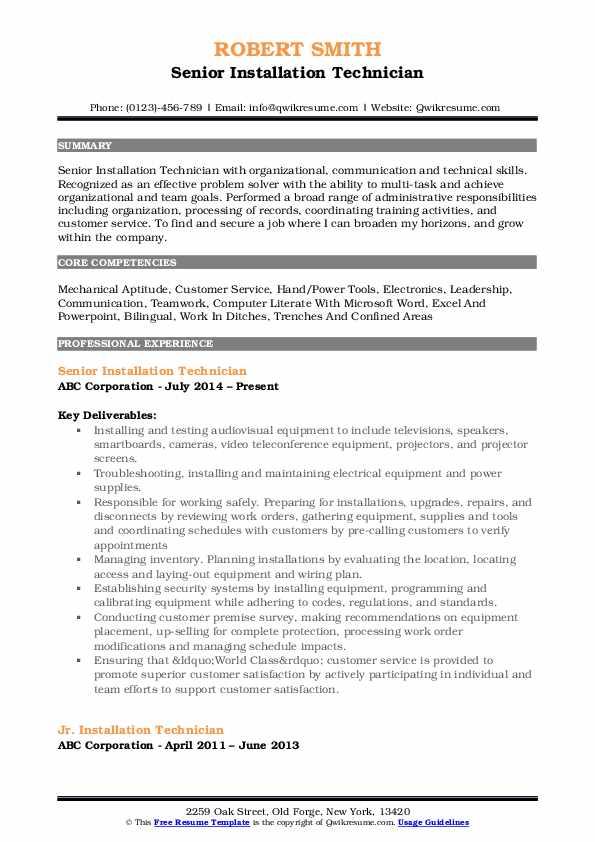 Senior Installation Technician Resume Sample