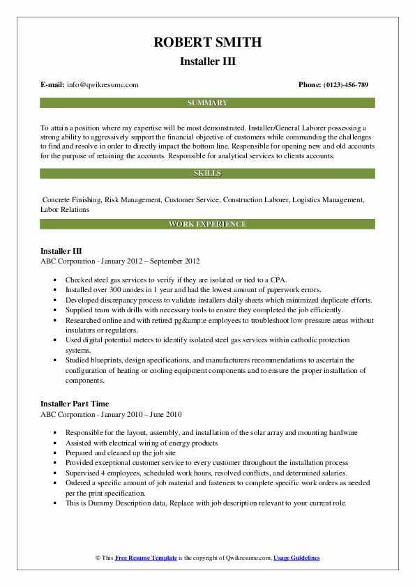 Installer III Resume Template