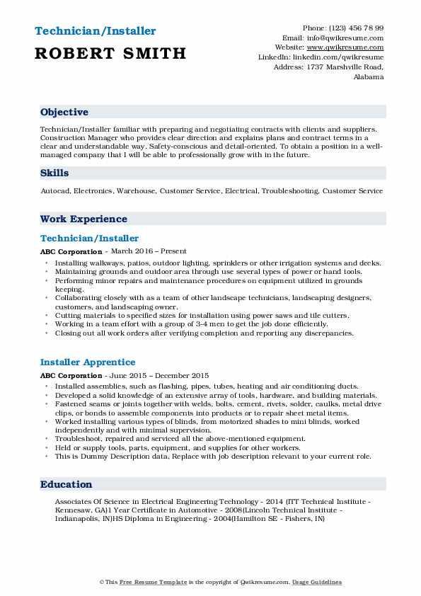 Technician/Installer Resume Sample