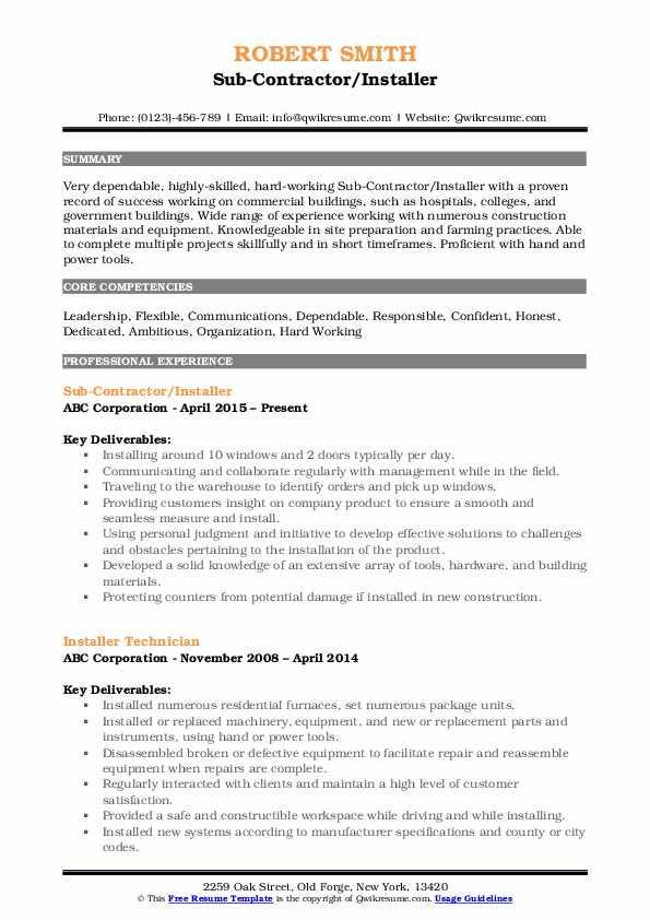 Sub-Contractor/Installer Resume Template