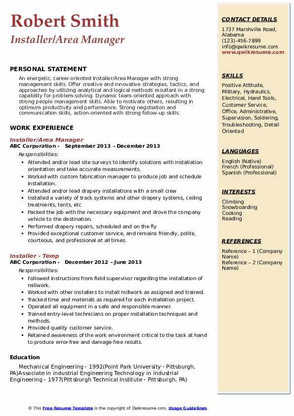 Installer/Area Manager Resume Sample