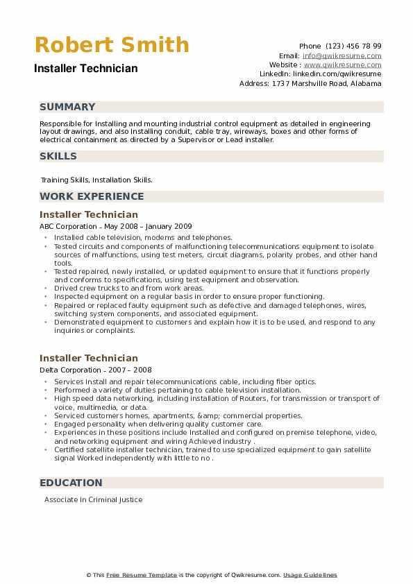 Installer Technician Resume example