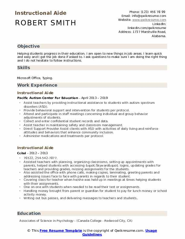 Instructional Aide Resume Model