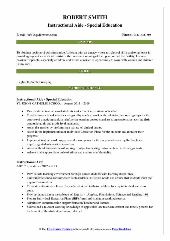 Instructional Aide - Special Education Resume Template