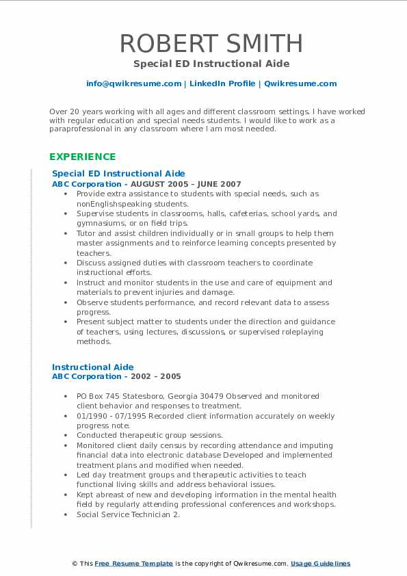 Special ED Instructional Aide Resume Format