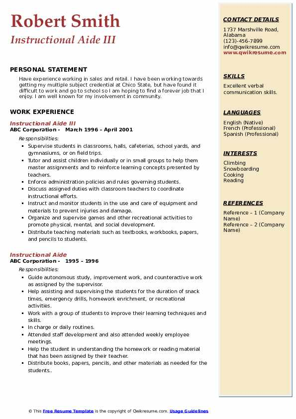 Instructional Aide III Resume Format