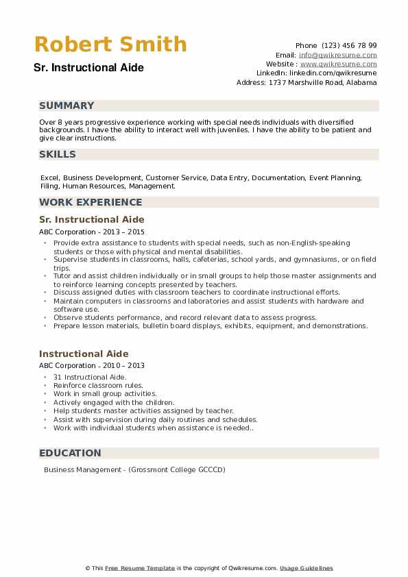 Sr. Instructional Aide Resume Template