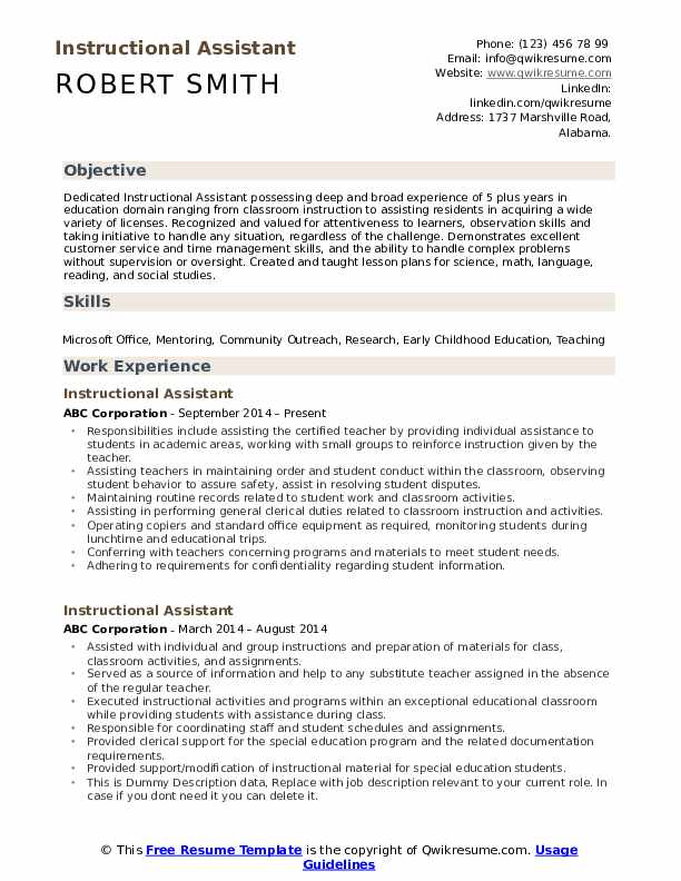 Instructional Assistant Resume Format