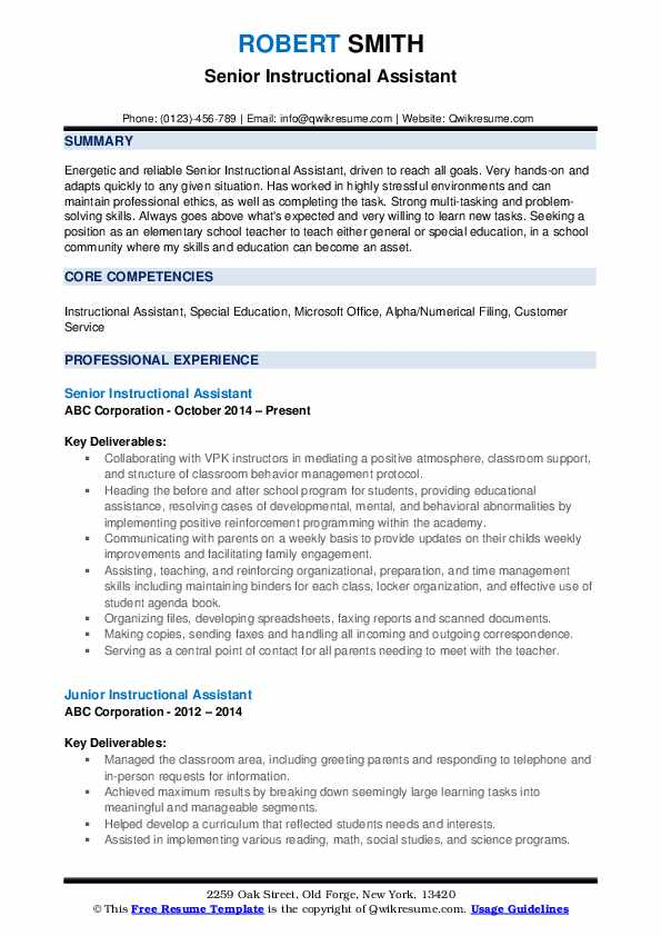 Senior Instructional Assistant Resume Sample