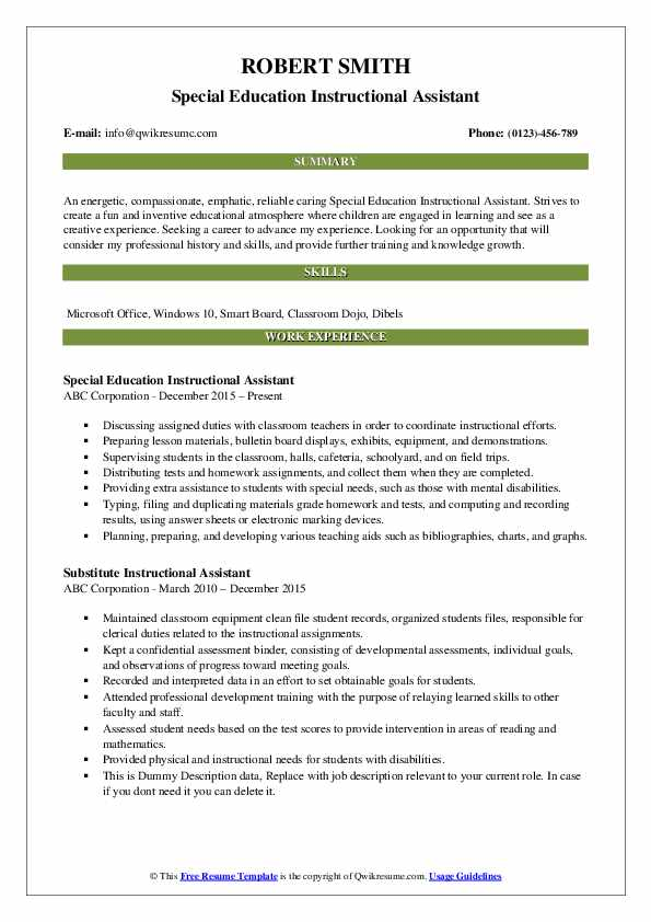 Special Education Instructional Assistant Resume Template