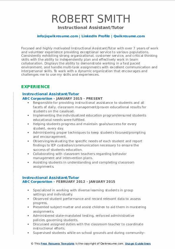 Instructional Assistant/Tutor Resume Format