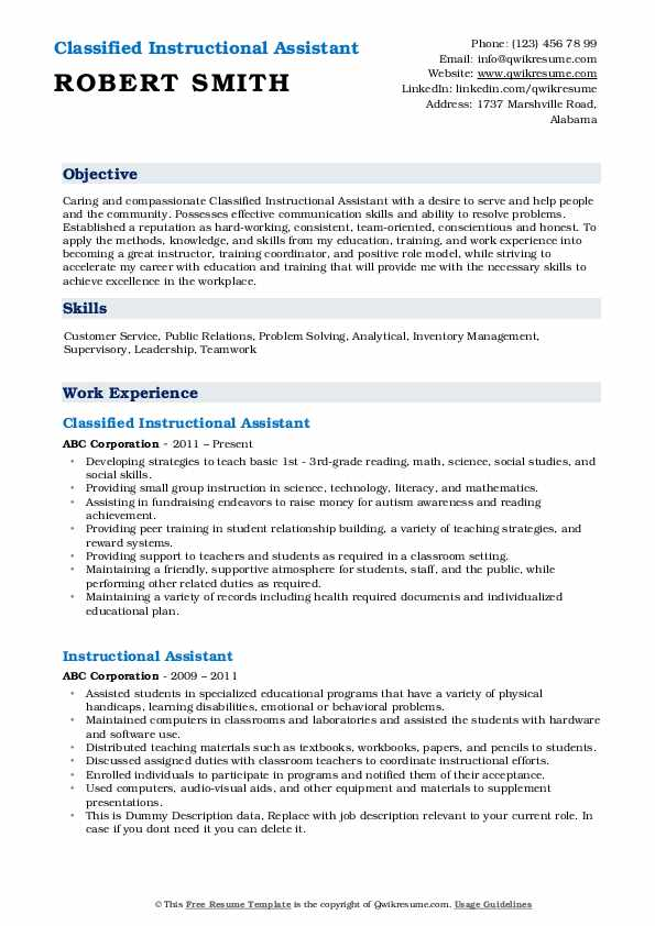 Classified Instructional Assistant Resume Model