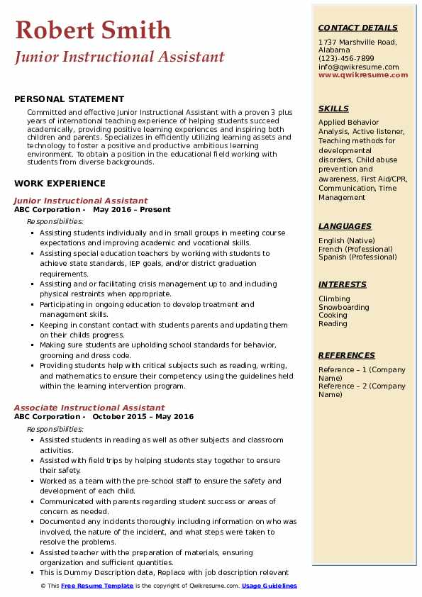 Junior Instructional Assistant Resume Sample