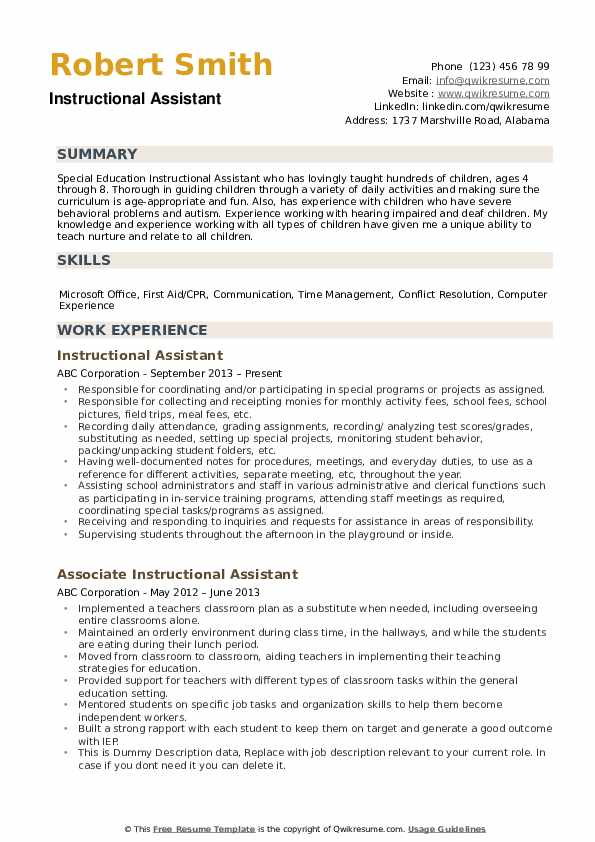 Instructional Assistant Resume example