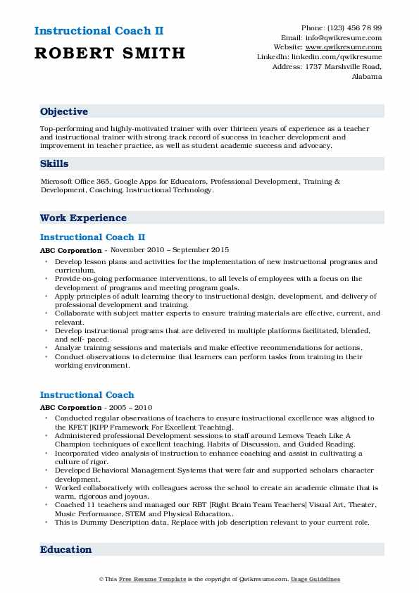 instructional coach resume samples