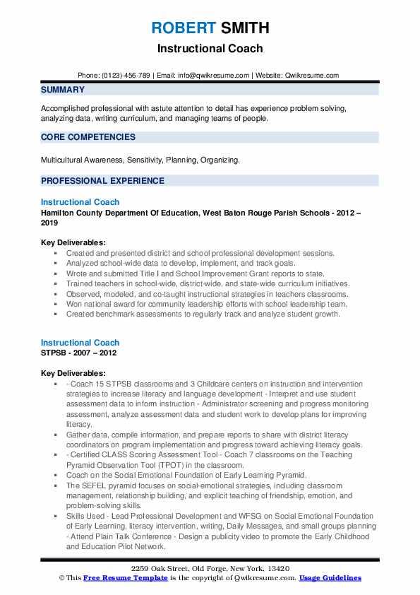 Instructional Coach Resume example
