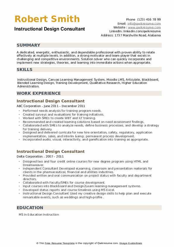 Instructional Design Consultant Resume example