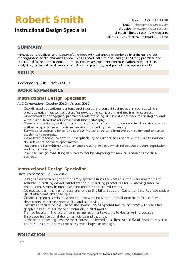 Instructional Design Specialist Resume example