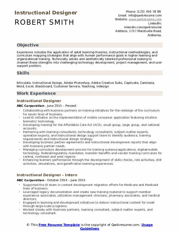 Instructional Designer Resume Template