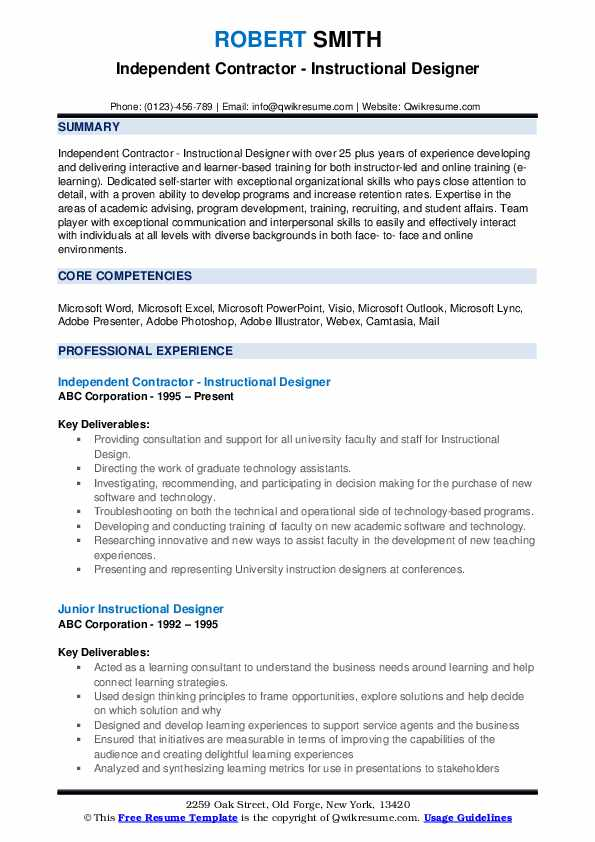 Independent Contractor - Instructional Designer Resume Format