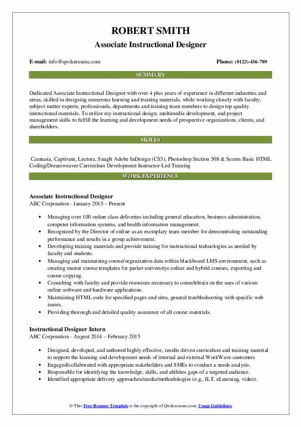 Associate Instructional Designer Resume Template