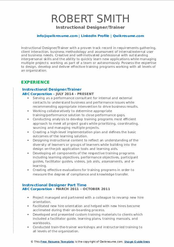Instructional Designer Resume Samples Qwikresume