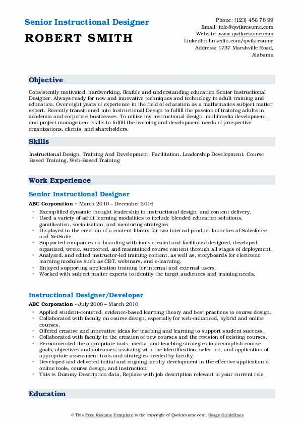 Senior Instructional Designer Resume Sample