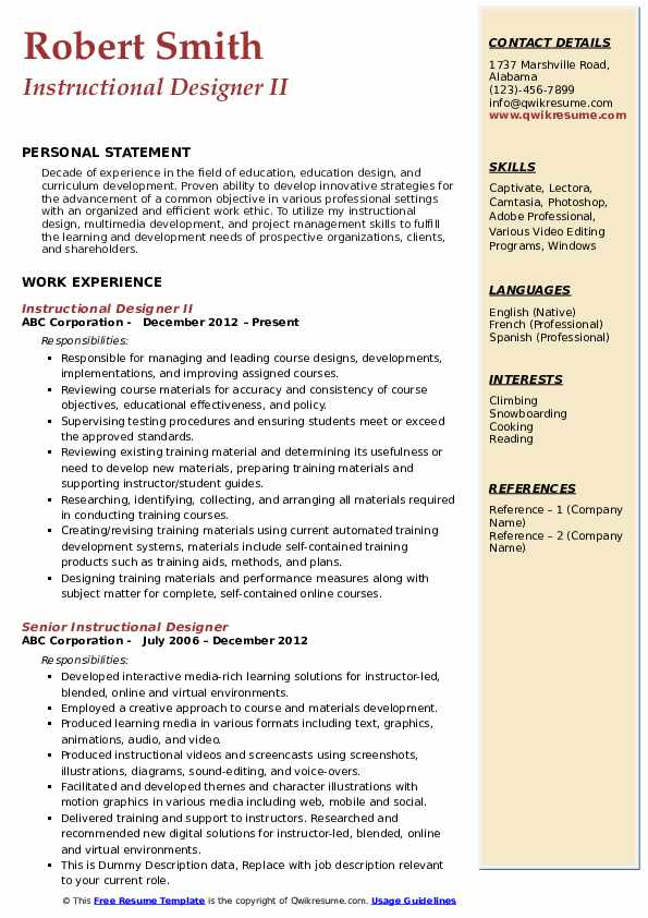 Instructional Designer II Resume Format