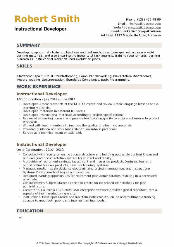 Instructional Developer Resume example
