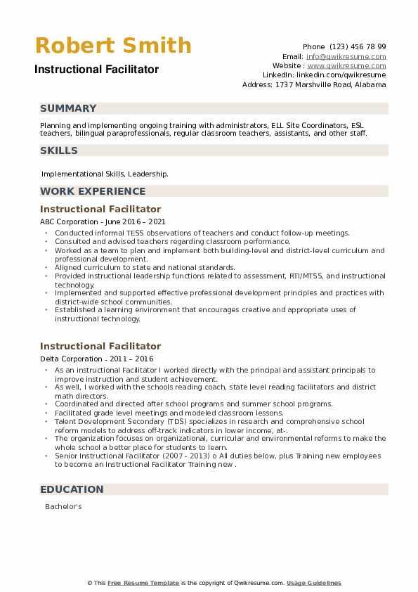 Instructional Facilitator Resume example