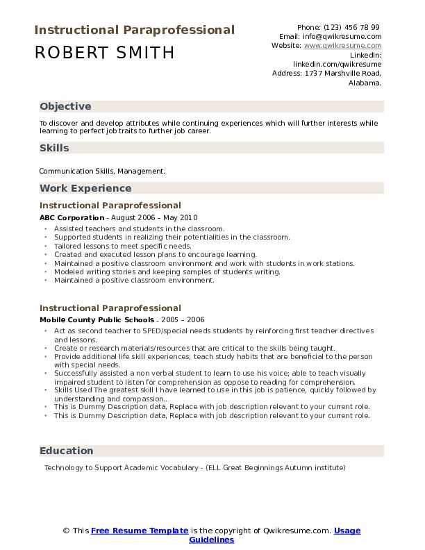 Instructional Paraprofessional Resume example