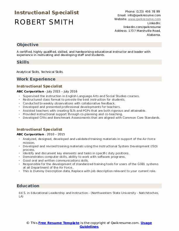 Instructional Specialist Resume example