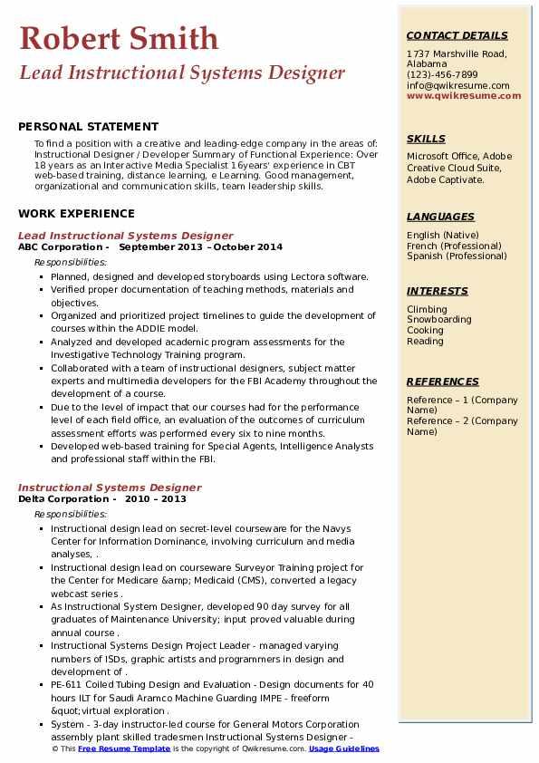 instructional systems designer resume samples
