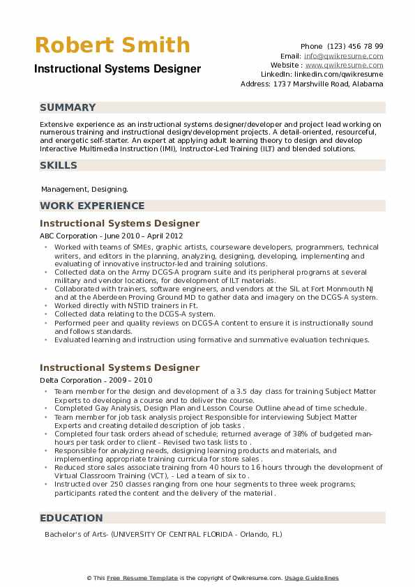 Instructional Systems Designer Resume example