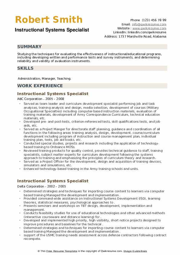 Instructional Systems Specialist Resume example
