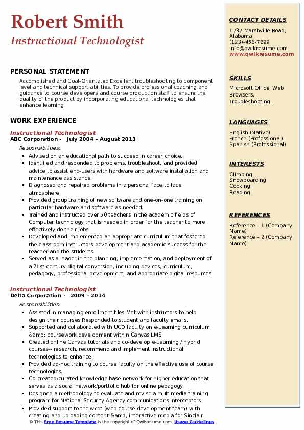 Resume instructional technologist pay to get popular resume