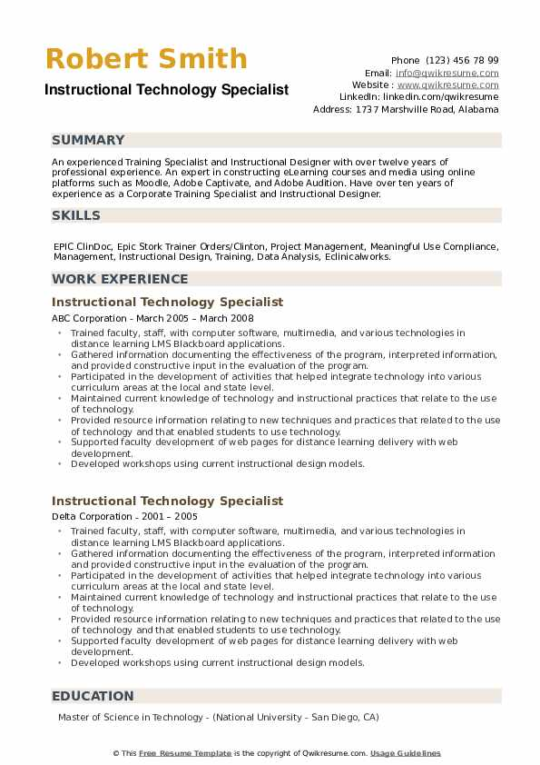 Instructional Technology Specialist Resume example