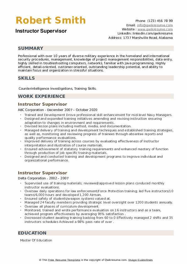Instructor Supervisor Resume example