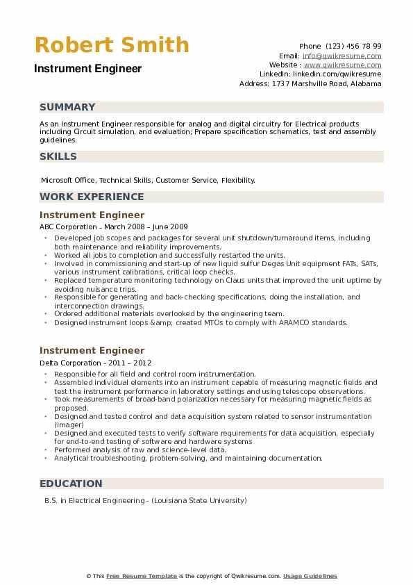 Instrument Engineer Resume example