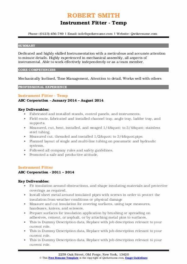 instrument fitter resume samples