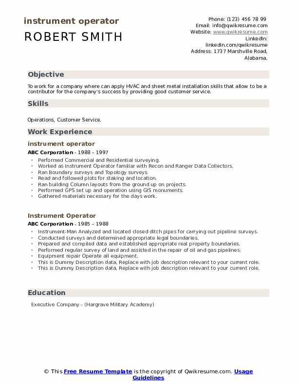 Instrument Operator Resume example