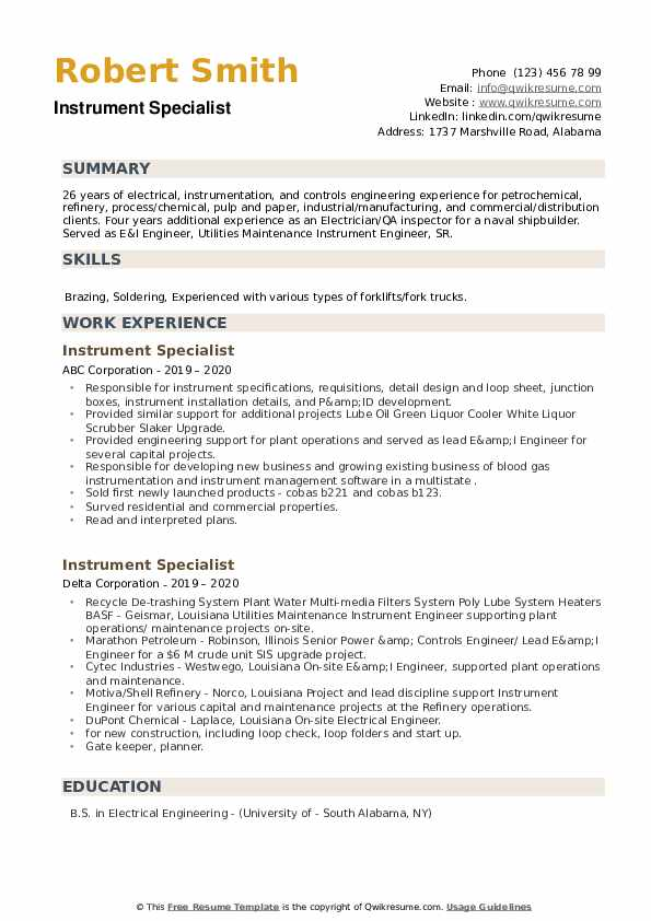 Instrument Specialist Resume example