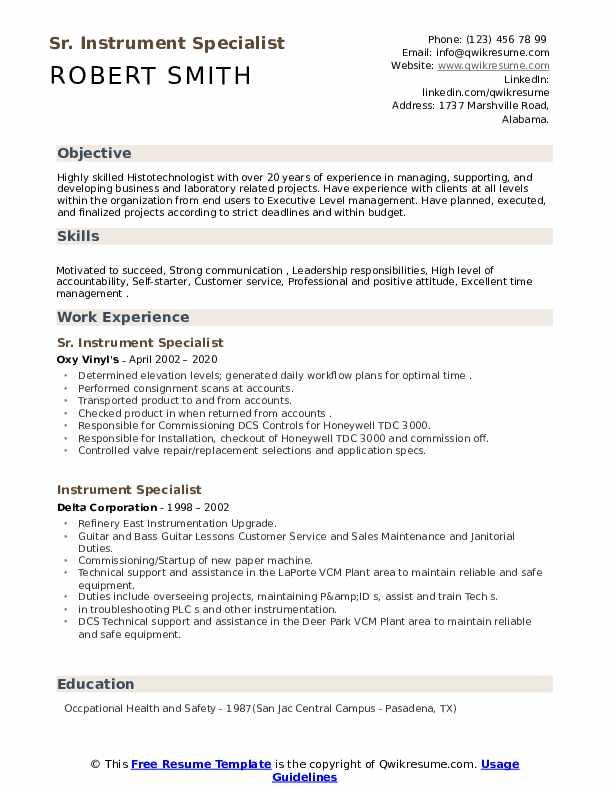 instrument specialist resume samples  qwikresume