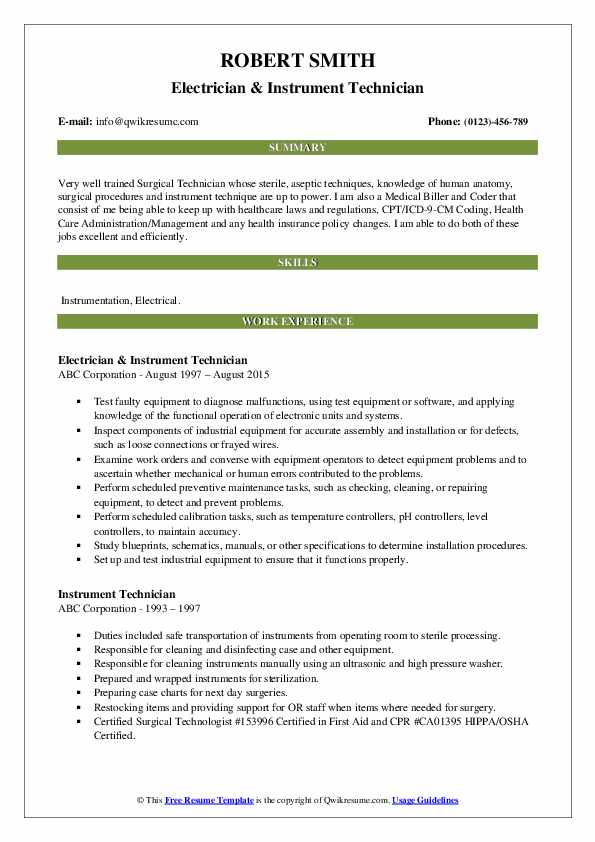 instrument technician resume samples