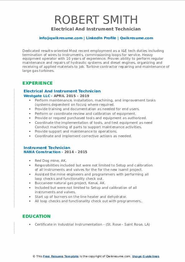 instrument technician resume samples