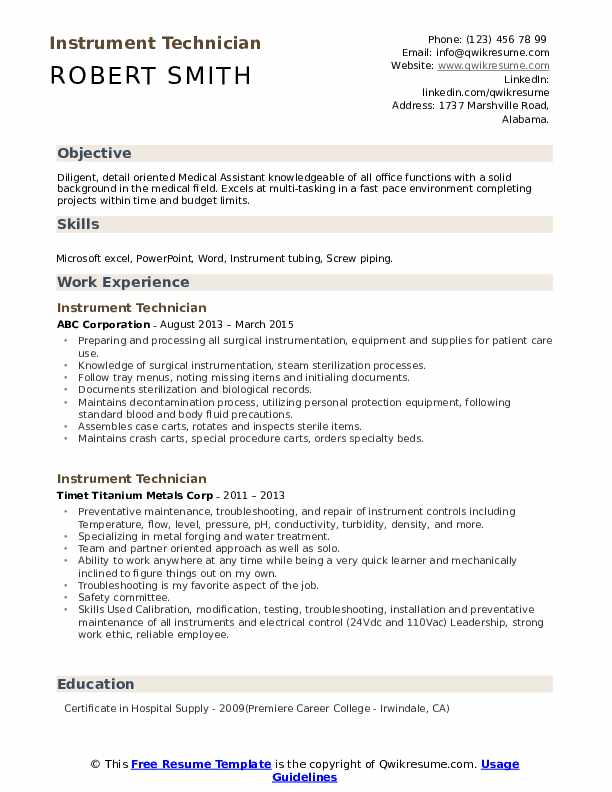 Instrument Technician Resume Samples | QwikResume
